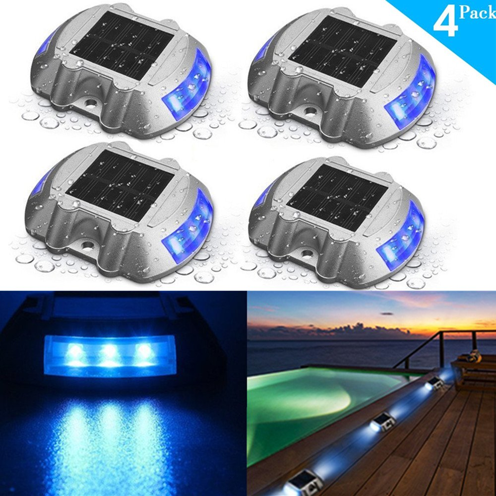 SOLMORE 4 Pack Solar Deck Lights LED Dock Light Solar Lights Step Road Path Light Waterproof Security Warning Driveway Lights Outdoor Fence Patio Yard Home Pathway Stairs Garden (Blue)