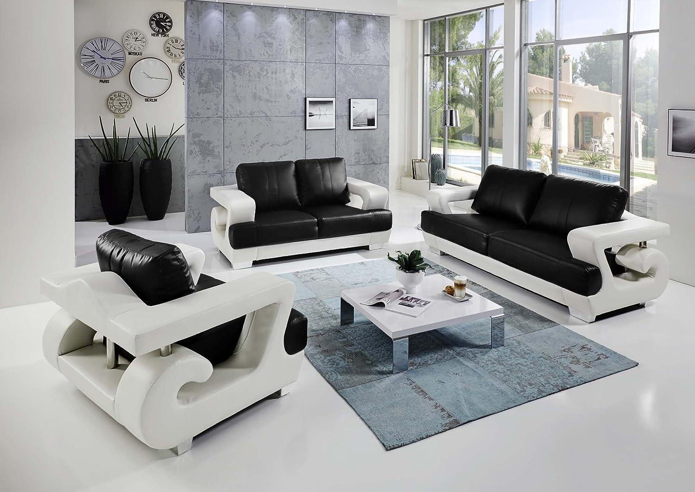 Schön Sofa Garnitur 3 Teilig Leder Das Beste Von Sam 3tlg Antonio, Weiß/schwarz, Couchgarnitur Aus Lederimitat,