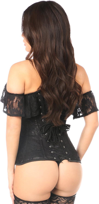 Lavish Black Lace Off-The-Shoulder Corset