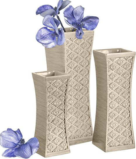 Dublin Flower Vase Set Of 3 Centerpieces For Dining Room Table Decorative Vases Home Decor Accents For Living Room Bedroom Kitchen More Packaged In Gift Box Brushed Silver Amazon Ca Home