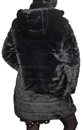 Fantasy Pelliccia Calibrata Ecologica Piumino Cappotto Giaccone Double Face Reversibile Eco Pelliccia Semplice Cappuccio Staccabile