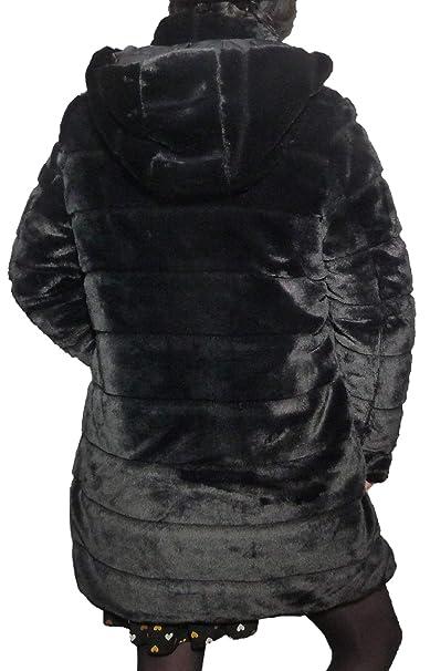 e1dc26160ef7 Fantasy Pelliccia Calibrata Piumino Cappotto Giaccone Doube Face  Reversibile Eco Pelliccia Semplice Cappuccio Staccabile (47 52 IT Donna