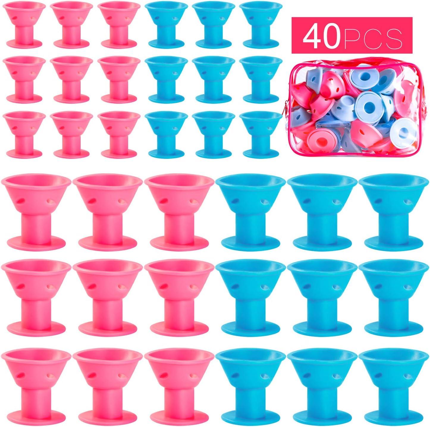 40 rulos de pelo de silicona, color azul y rosa, 20 unidades de ...