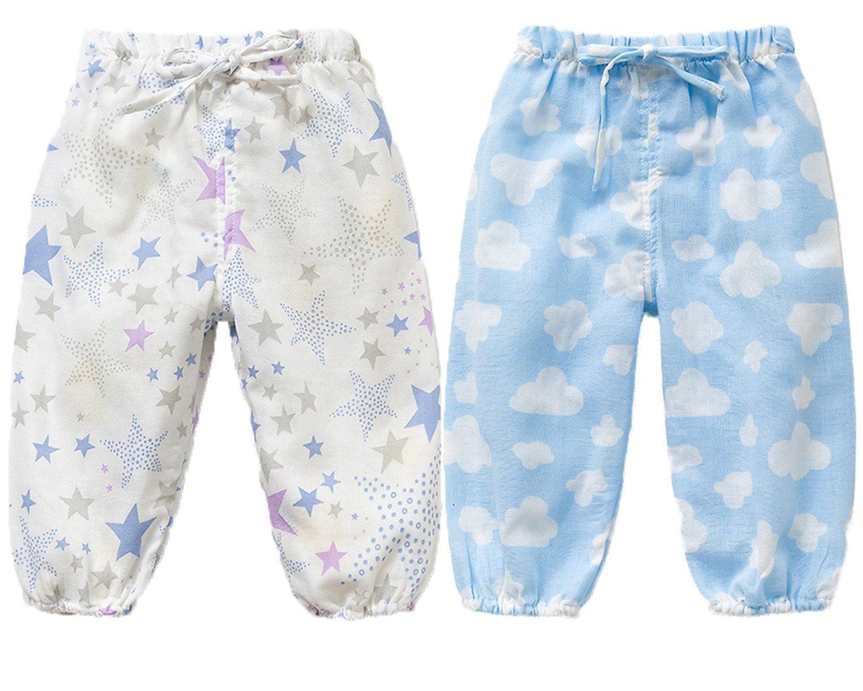 Maylife 2 Pack of Little Baby Girls Sweety Flamingos Fruit Ruffle Anti-Mosquito Conditioner Lantern Pants