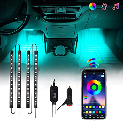 Interior Car Lights, CHUSSTANG 48 LEDs 4pcs Car LED Strip Lights Bluetooth App Control Lighting Kits and Control Box Music with Car Charger Waterproof Sound Active Function for Smart Phone: Automotive