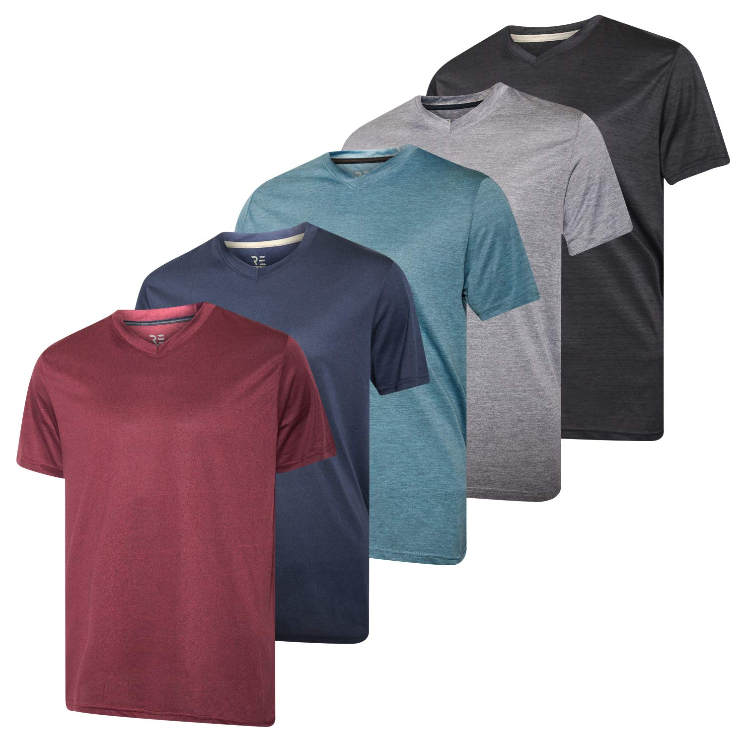 5 Pack:Men's V Neck Quick Dry Fit Dri-Fit Short Sleeve Active Wear Training Athletic Essentials T-Shirt Tee Fitness Gym Workout Undershirt Top-Set 1,M by Real Essentials