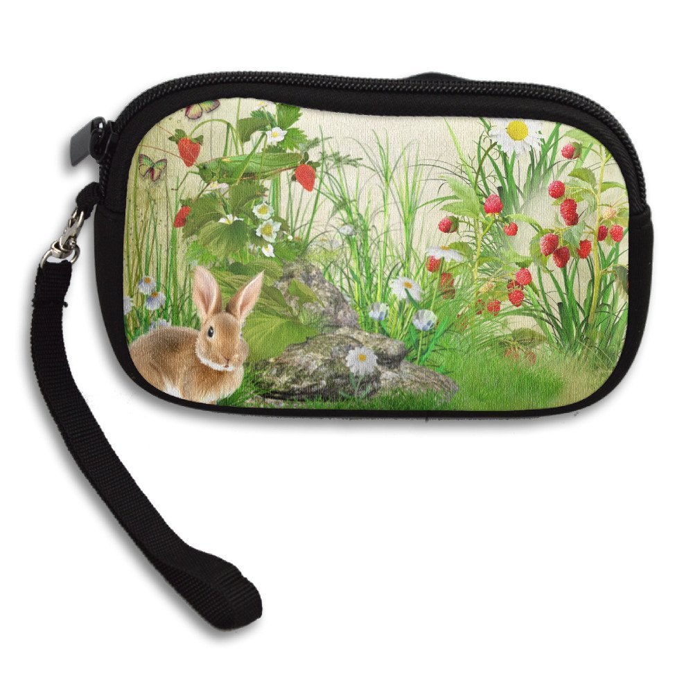 Flowers Berries Butterfly Summer Strawberries Rabbit Unisex Polyester Wristlets Clutches Cell Phone Bag Zipper Wallet Card Case Purse