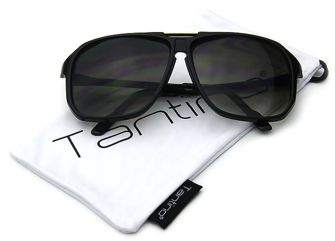 de913b4238a Amazon.com  Oversized Square Aviator Sunglasses Evidence Black Frame ...