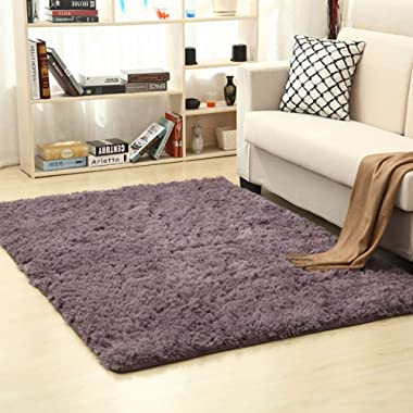 Picturesque Square Shaggy Fluffy Area Rug Living Room Carpet