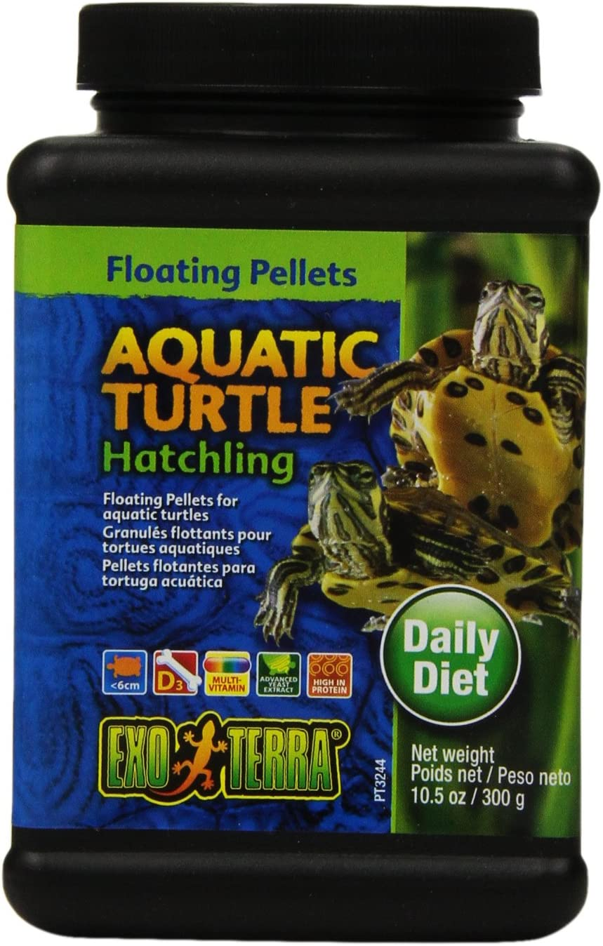 Exo Terra Aquatic Turtle Hatchling Food, Floating Pellets for Reptiles, 10.5 Oz., PT3244