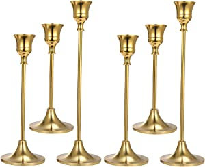 Anndason Set of 6 Gold Candlestick Holders Gold Candle Holder Taper Candle Holders Candle Holder Decorative Candlestick Holder for Home Decor, Wedding, Dinning, Party, Anniversary