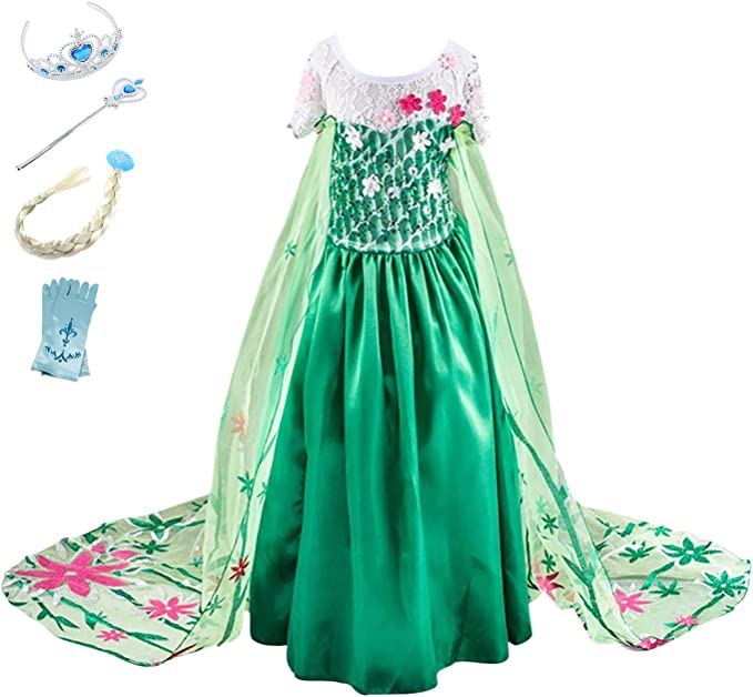 YOSICIL Princesa Disfraz Frozen Elsa Verde Disfraces Princesas ...