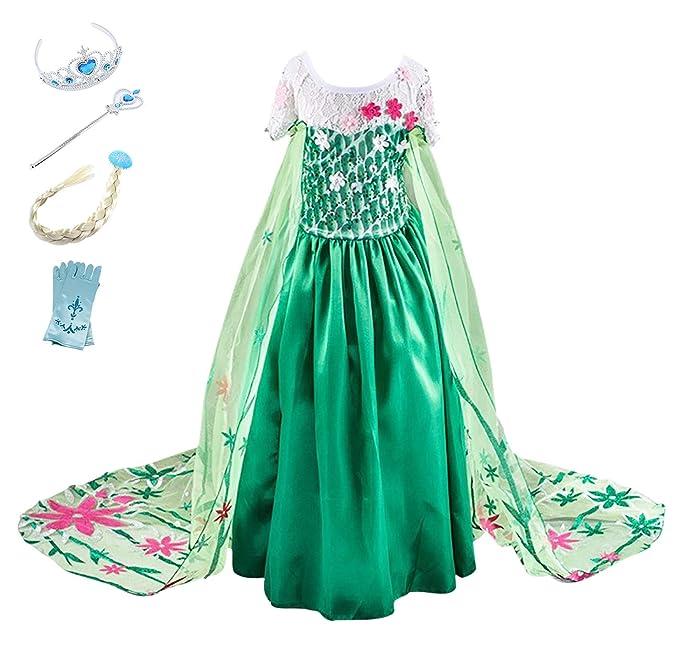 YOSICIL Princesa Disfraz Frozen Elsa Verde Disfraces Princesas Disfraz Infantil niña Bordado Fancy Dress con Mangas de Encaje Transparente Princesa ...