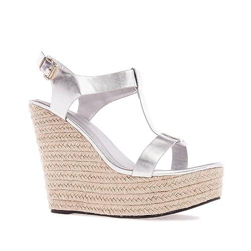 f303cfa069 Andres Machado AM5129.Chaussures Compensées T-Bar en Soft. Petites ...