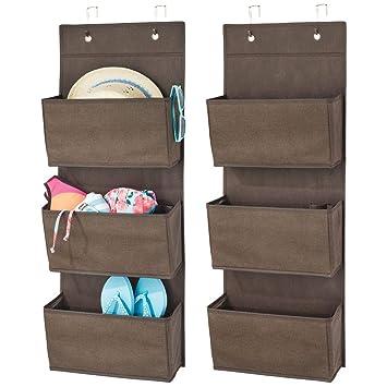 mDesign Juego de 2 colgadores de ropa – Organizadores de armarios con 3 bolsillos de polipropileno transpirable – Percheros para puerta multiusos para ...