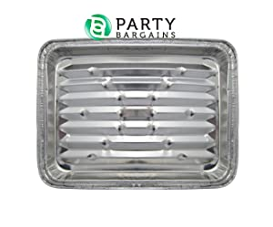 """Party Bargains Disposable Aluminum Broiler Baking Cooking Pan & Grill Liner, Sheets of Broiler Pans - Size 12 X 8 3/4"""" X 1 1/   Pack of 12"""