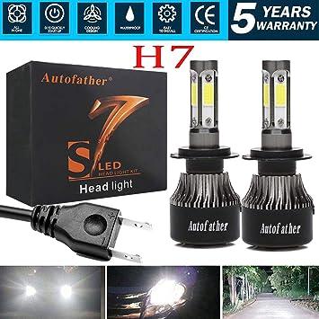 H7 bombillas LED haz de alta/baja Kit de conversión H7 para faros/luces antiniebla Lámpara Bombillas 20000Lm 4-Side 6000 K - 1 par: Amazon.es: Coche y moto