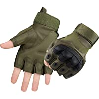 Dream Wings Joint Protection Gloves, Half Finger Rubber Hard Knuckle Gloves Fit for Outdoor Exercise Climbing Racing Hiking Camping Cycling Motorcycle (M, Army Green)