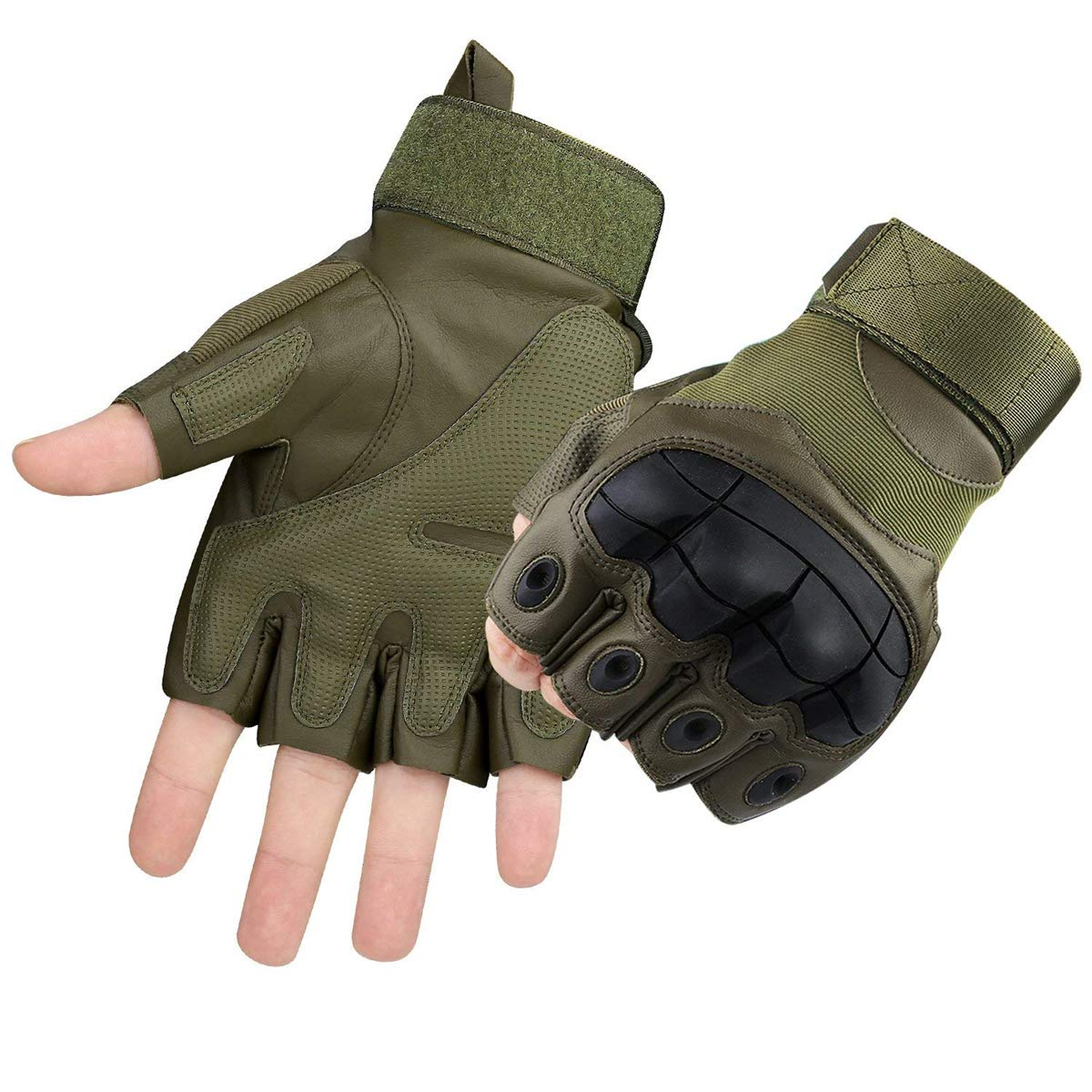 Xiaoai Tactical Gloves, Half Finger Military Rubber Hard Knuckle Gloves Fit for Outdoors Exercise Climbing Racing Hiking Camping Cycling Motorcycle (Army Green, M)