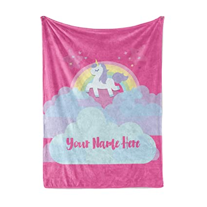 2ba228d964 Amazon.com  Personalized Magical Rainbow Unicorn Blanket for Kids ...