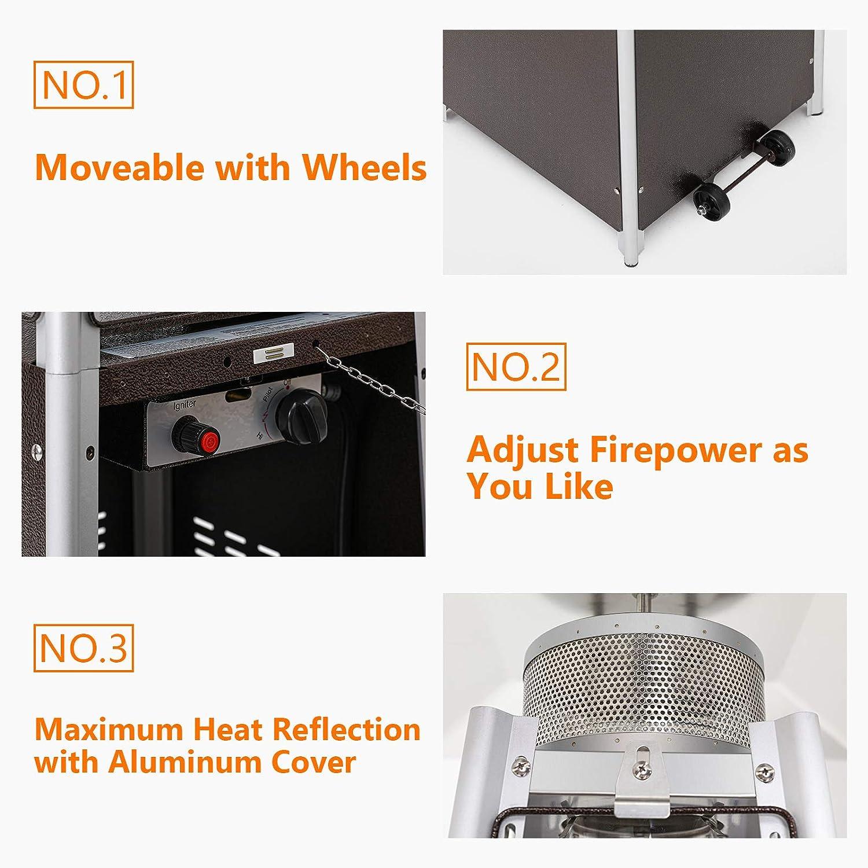 40000BTU Movable Wheels at The Bottom Incbruce Patio Heater Quartz Glass Tube Portable Propane Table Top Pyramid Visual Flame Heater Black