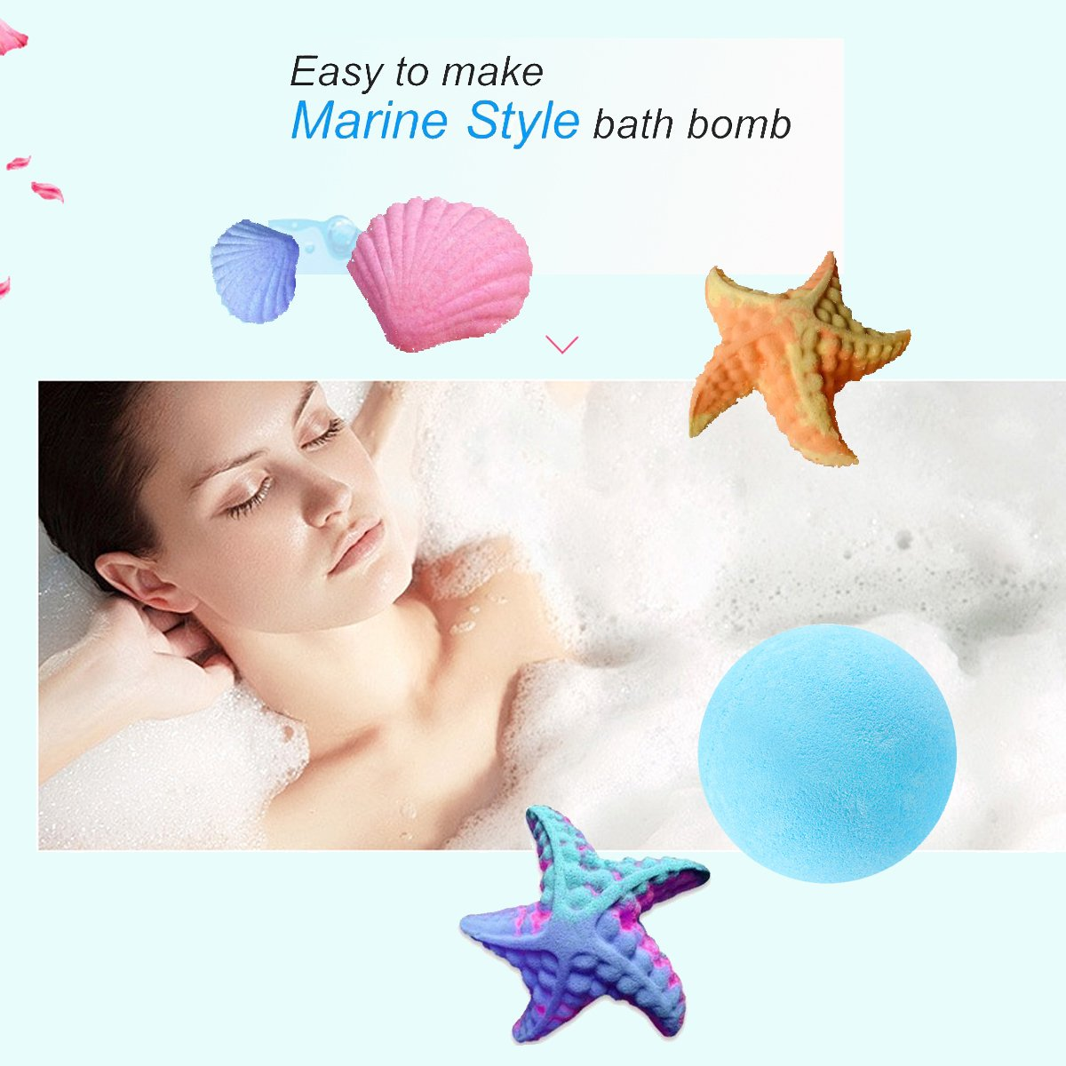 LAWOHO Metal Bath Bomb Mold DIY Handmade Soap Maker Kit Supplies 5 Set 10 Pieces with 100 Pieces Shrink Wrap Bags and 1 Pieces Mini Heat Sealer for Crafting your Own Fizzles