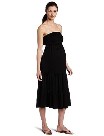 Black Strapless Maternity Dress