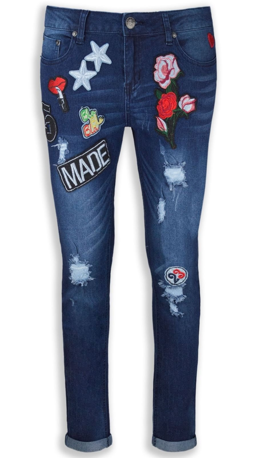 NEW Women Ladies Mid Waist Jeans Blue Patched ALL SIZES Patches Ripped Rip (7, Style 2)