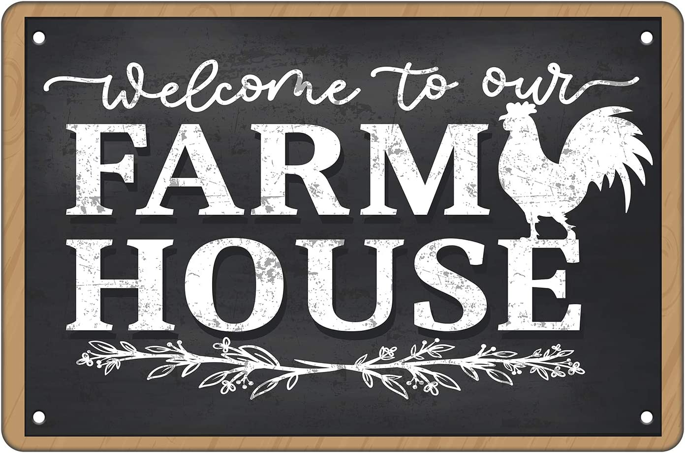 Crapopo Welcome to My Farmhouse Gate Wall Decor Sign,Black Vintage Tin Sign with A Chicken for Farmhouse Fence Gate,8x12inch Decorative Tin Sign