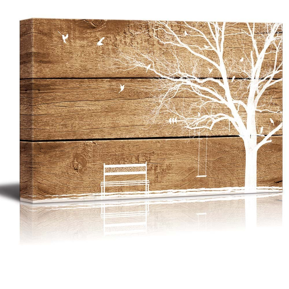 artistic abstract tree and birds on rustic wood background canvas