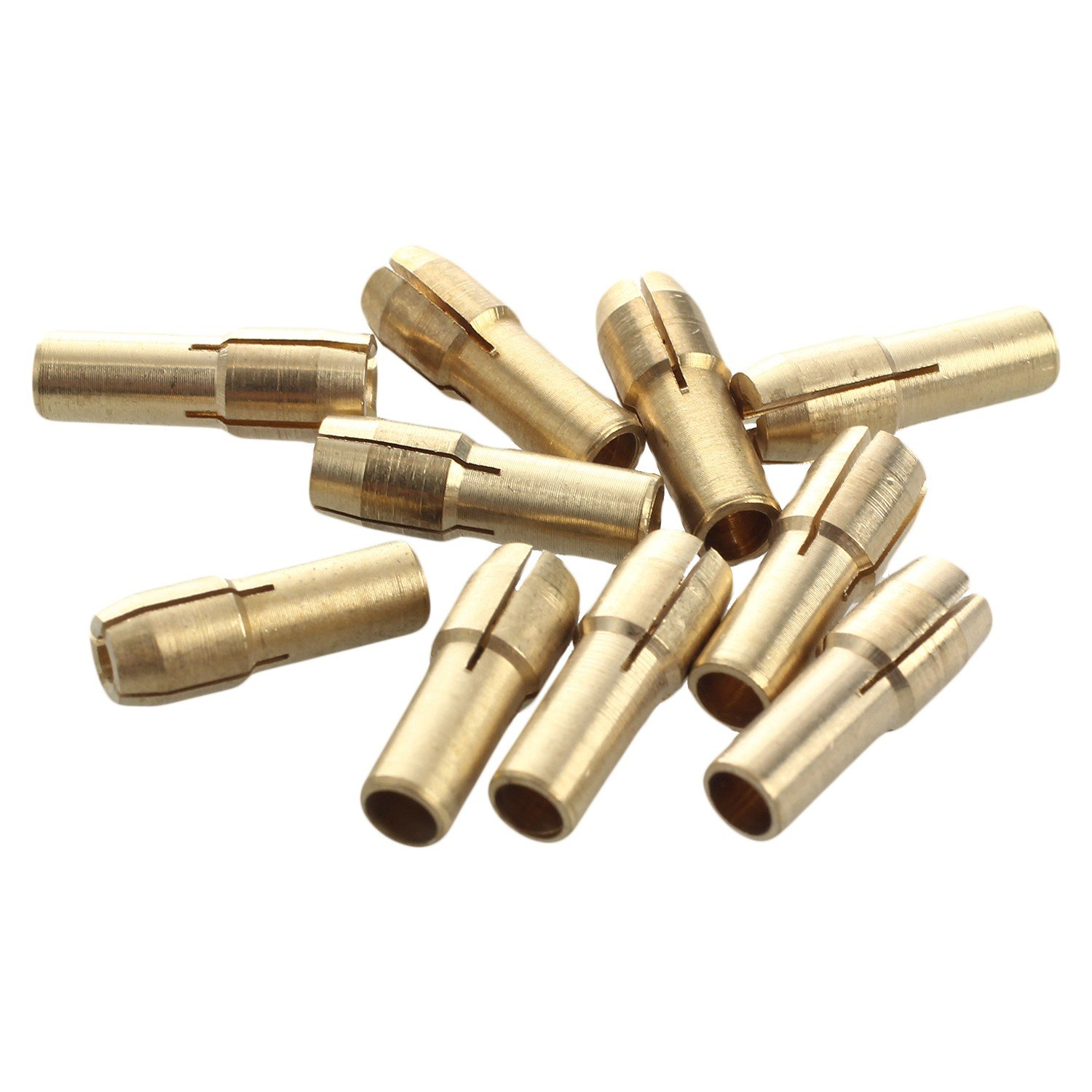 TOOGOO 10 Pieces Mini Drill Brass Collet Chuck for Rotary Tool 0.5-3.2mm