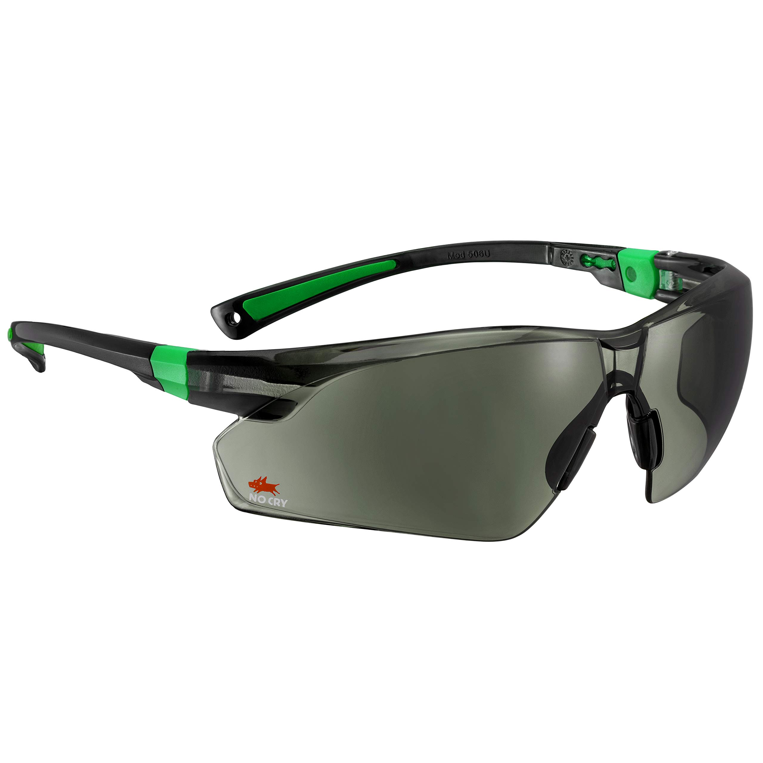 9c2bdcd361 NoCry Work and Sports Safety Sunglasses with Green Tinted Scratch Resistant  Wrap-Around Lenses and