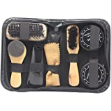 Accessotech 8 in 1 Black & Neutral Shoe Shine Polish Cleaning Brushes Set Kit in Travel Case