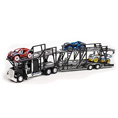 Modarri Transporter Semi Truck   with 3 Modular Toy Cars   Freight Carrier Hauler   Hauls 8 Toy Vehicles   Buildable Stem Educational Toy Cars   Toys fr Boys and Girls Age 5 6 7 8 9: Toys & Games