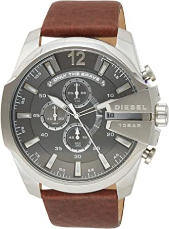 Diesel Men's Mega Chief Quartz Stainless Steel And Leather Chronograph Watch Color: Silver Tone Brown