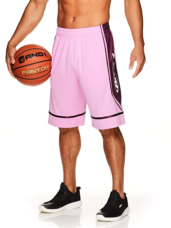 AND1 Men's Basketball Gym & Running Shorts w/Elastic Waistband & Pockets - 12 Inch Inseam