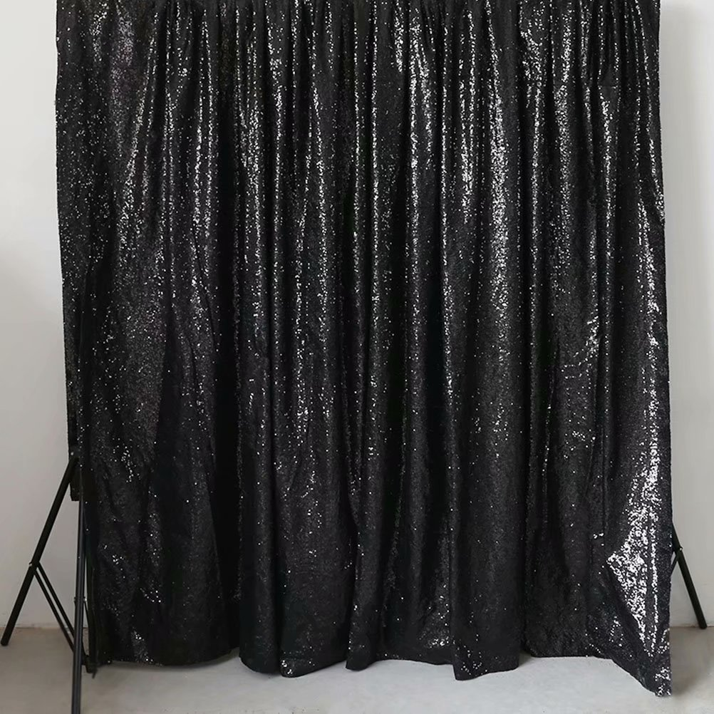 GFCC Sequin Backdrops Black Sequin Curtains Sequin Fabric for Wedding/Party/Birthday-20ftx10ft by GFCC (Image #1)