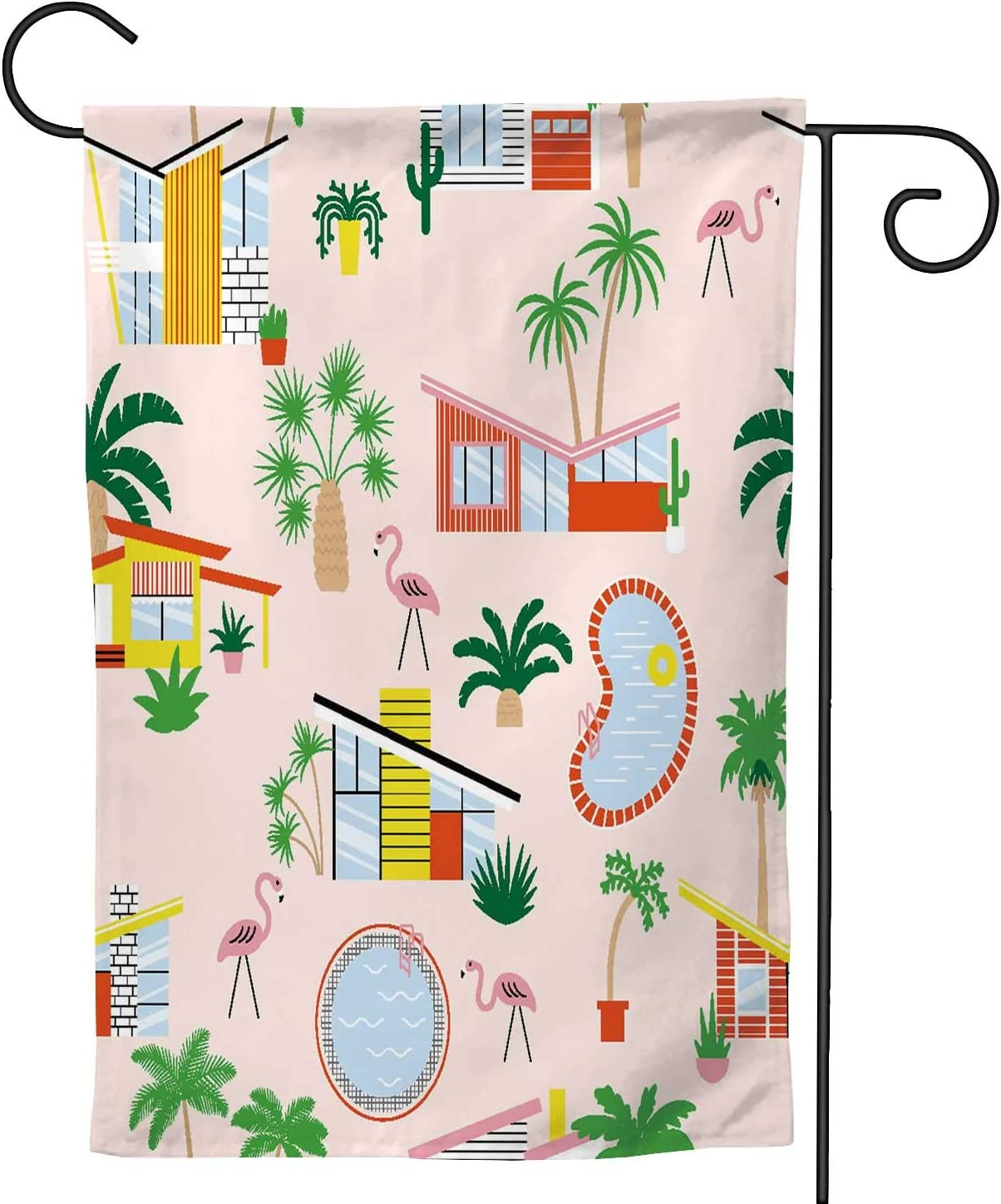 Hitecera Seamless Pattern with mid Century Modern Houses and Palms,Welcome Garden Flag Double Sided Outdoor Decoration 28''x40''