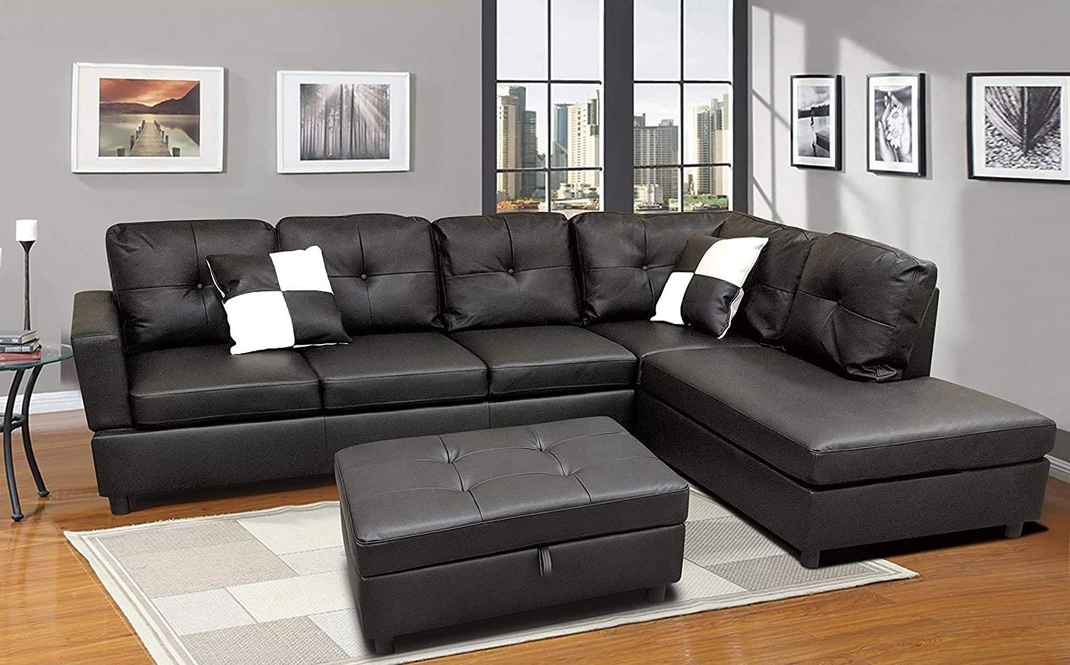 Amazon Com Sofa Sectional Sofa L Shape Faux Leather Sectional Sofa Couch Set With Chaise Ottoman 2 Toss Pillow Using For Living Room Furniture Black Kitchen Dining