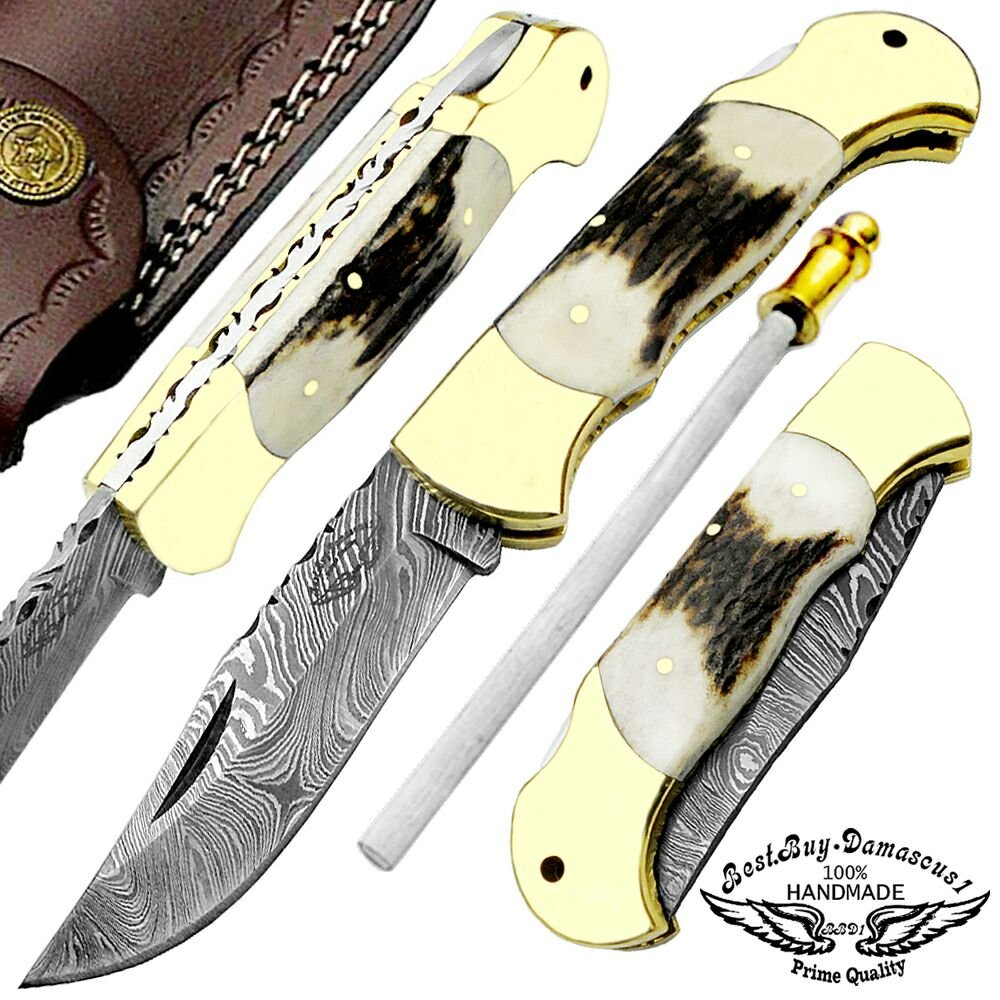Stag Horn 7.5'' Custom Handmade Damascus Steel Folding Pocket Knife Brass Double Bloster Back Lock 100% Prime Quality