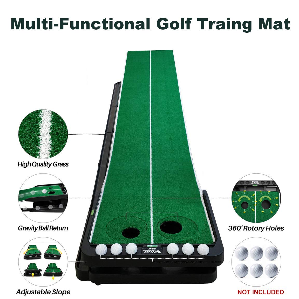 Crestgolf Slope-adjustablity Golf Putting Mat Green Indoor Outdoor Auto Ball Return Professional Portable Putting Trainer Set Mini Training Aids for Home Use - Extra Long 9.84 Feet by Crestgolf