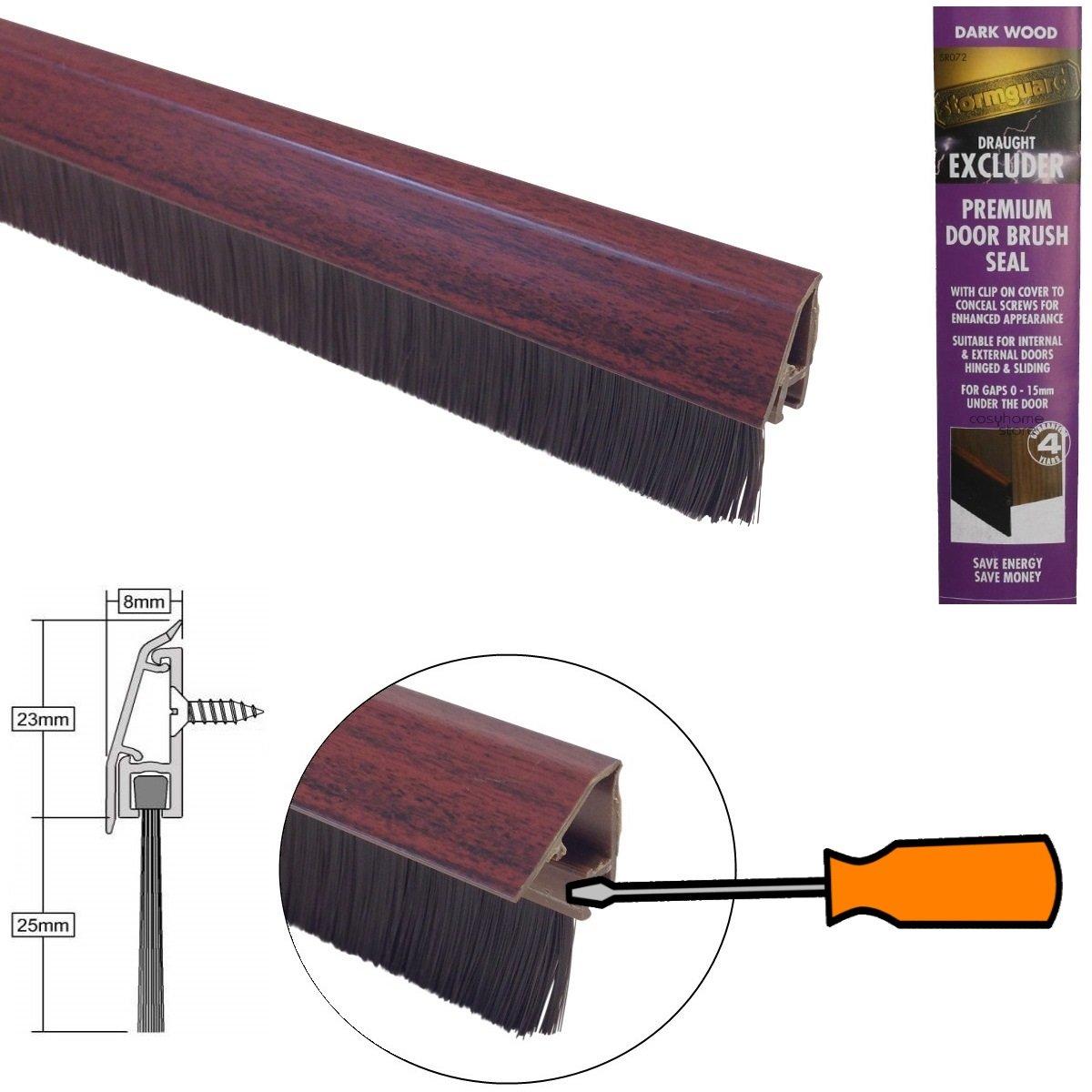 Inferior puerta cepillo de sellado con tapa de fijación oculta y color correspondiente cepillo - efecto madera oscura 838mm: Amazon.es: Bricolaje y ...