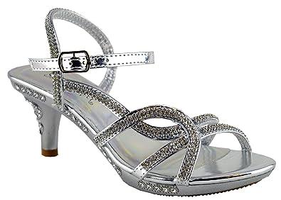 e23198127dd Girls Stiletto Mid Heel Ankle Strap Platform Wedding Evening Sandals Shoe  Size - Silver - UK