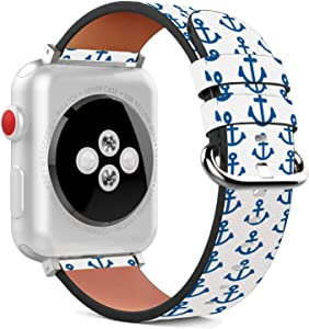 Compatible with Apple Watch - 38mm / 40mm (Serie 5,4,3,2,1) Leather Wristband Bracelet with Stainless Steel Clasp and Adapters - All The Anchors Down