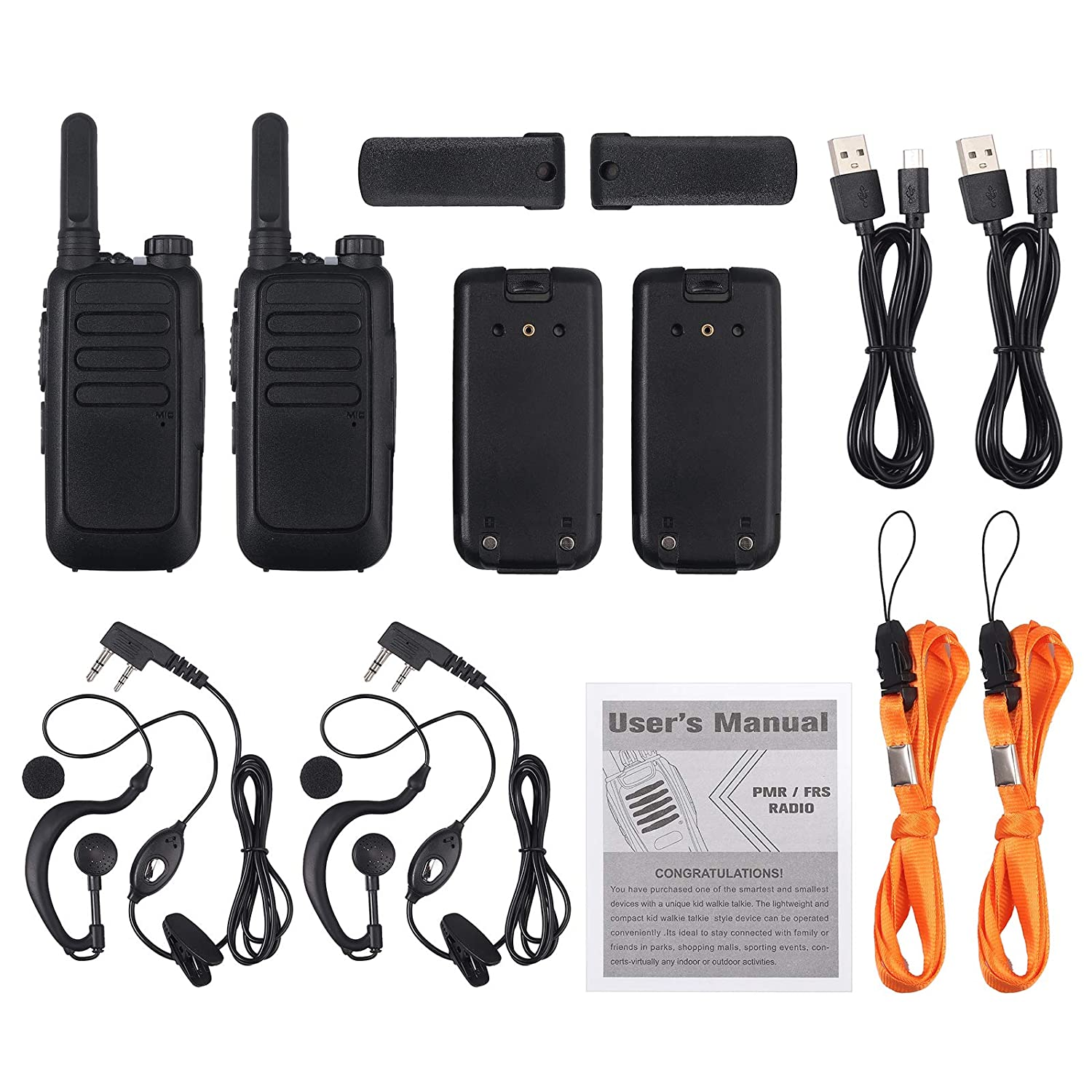 eSynic Rechargeable Walkie Talkie 2 Pack Long Range Two-Way Radios with Earpieces 16 CH FRS462MHz USB Cable Charging Walky Talky VOX Li-ion Battery and USB Charge Cable Included