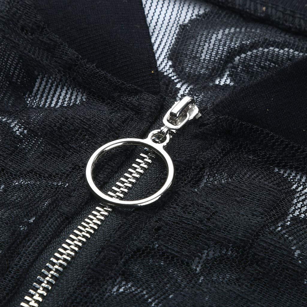 Overdose Tops de Mujer Abrigos de Primavera Delgada Suelta Tama/ño Grande Manga Larga Casual Encaje Negro Calado Cardigan Dise/ño de la Cremallera Moda Mujer Mejor