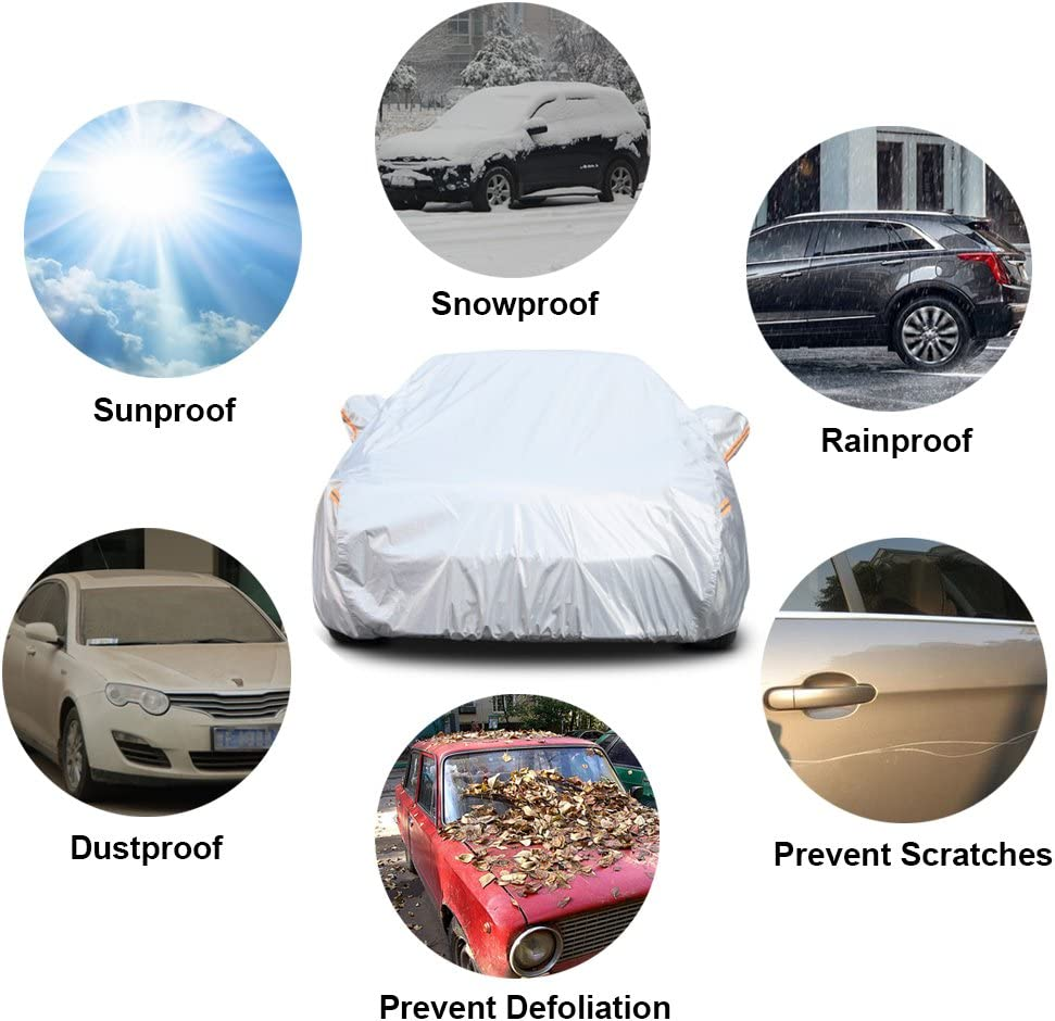 Outdoor Full Cover Rain Sun Uv Protection With Zipper Cotton 3L Up To 470 cm Fit Sedan kayme Multi-layer Car Cover Waterproof All Weather For Automobiles