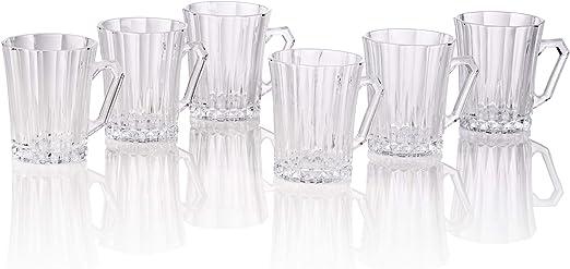 Bezrat Luxury Cappuccino Glass Coffee Tea Cups with Handle Latte Mugs 9 Ounces Espresso Cappuccino Set of 6 Tempered Glass Espresso Cups