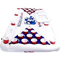 Play Platoon H2PONG Inflatable Beer Pong Raft With Cooler, Includes 5 Ping Pong Balls - Floating Pool Party Game Float Set with Built In Cooler