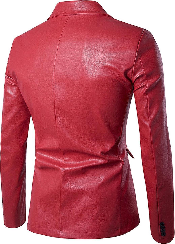 be9870d59 Sportides Mens Faux Leather Slim Fit One Button Blazer Jacket JZA004